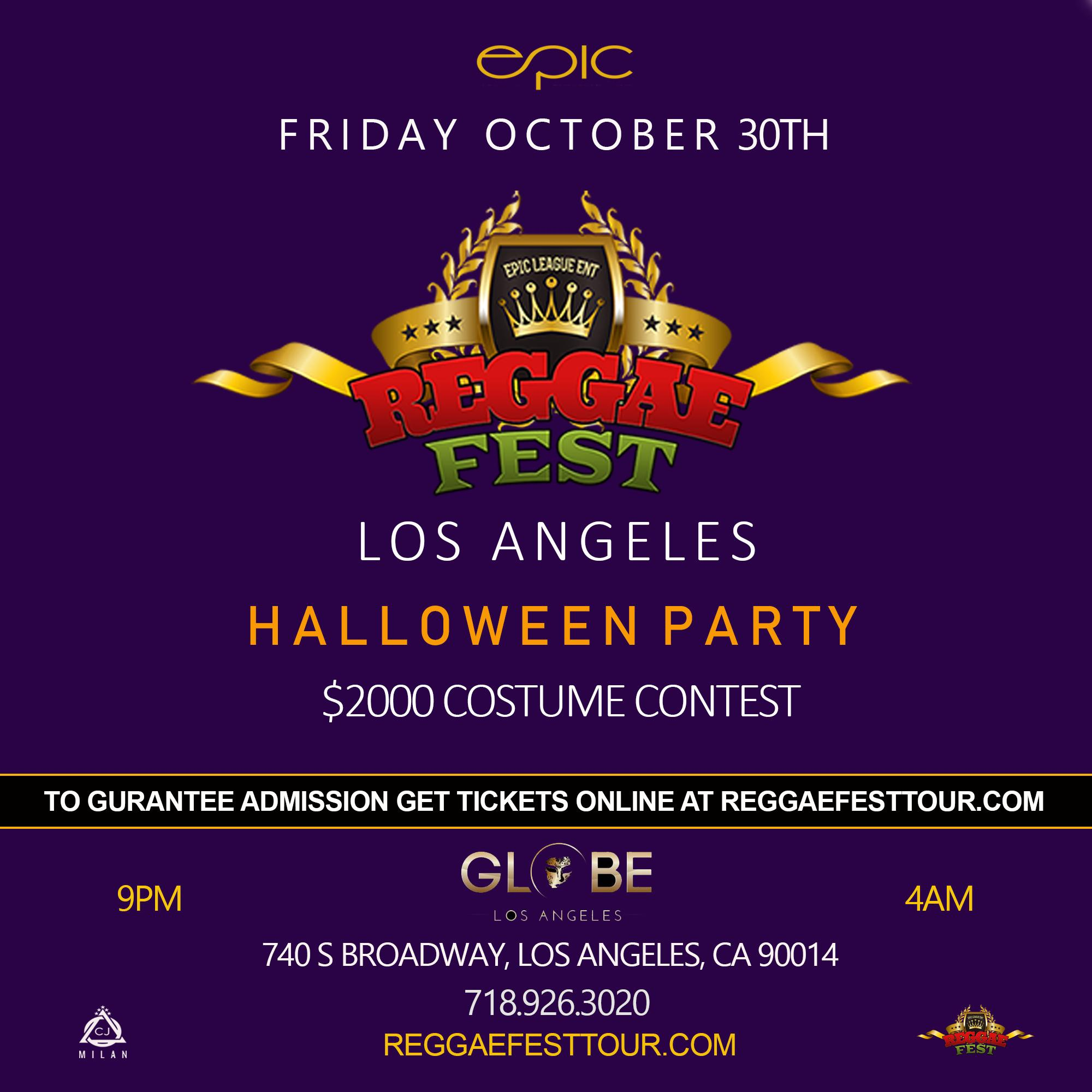 Los Angeles Halloween Party 2020 Reggae Fest LA Halloween Party $2000 Costume Contest at Globe