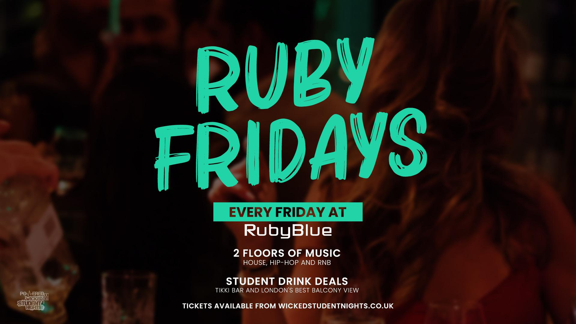 ruby blue every friday // student drink deals tickets
