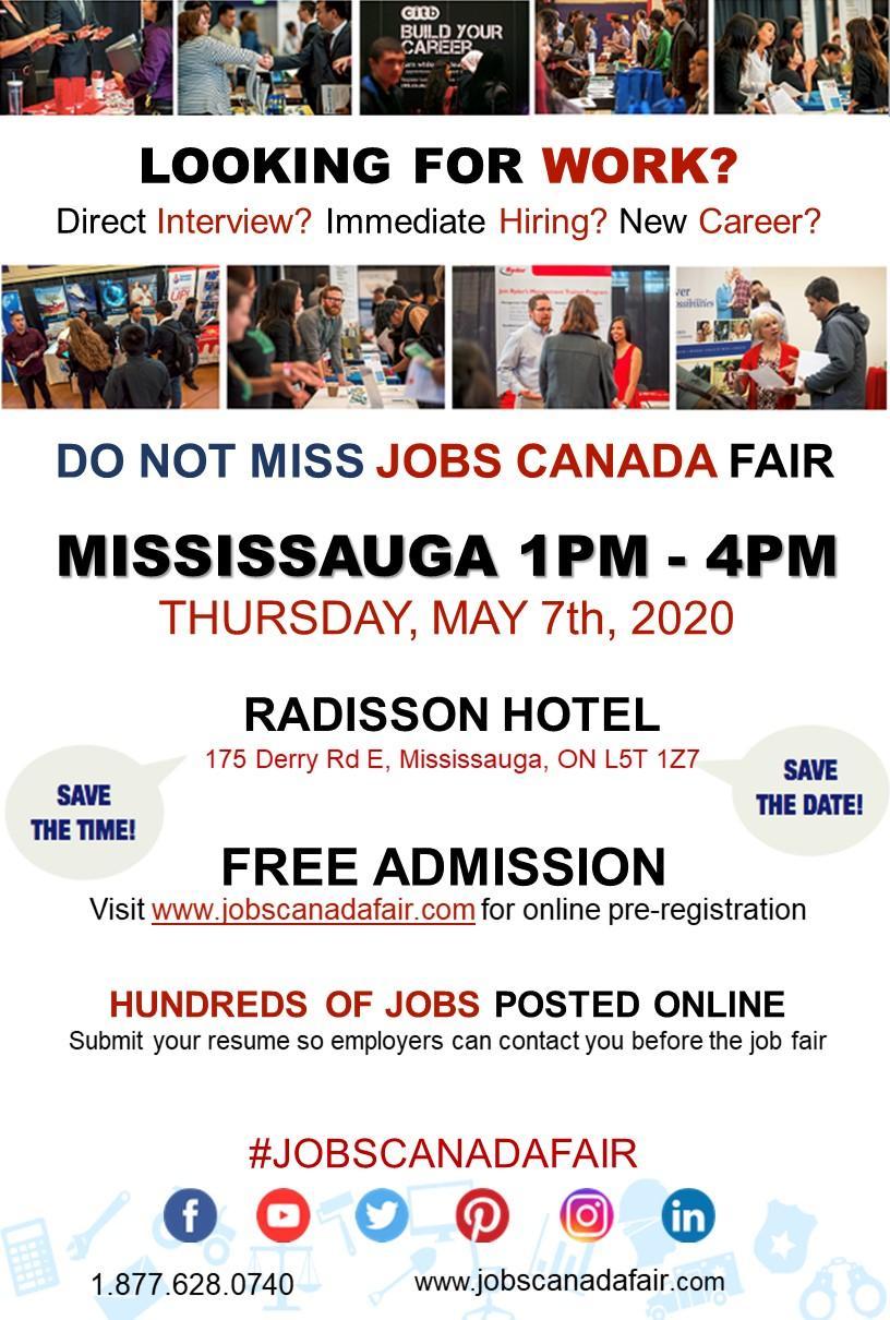 Mississauga Job Fair - May 7th, 2020