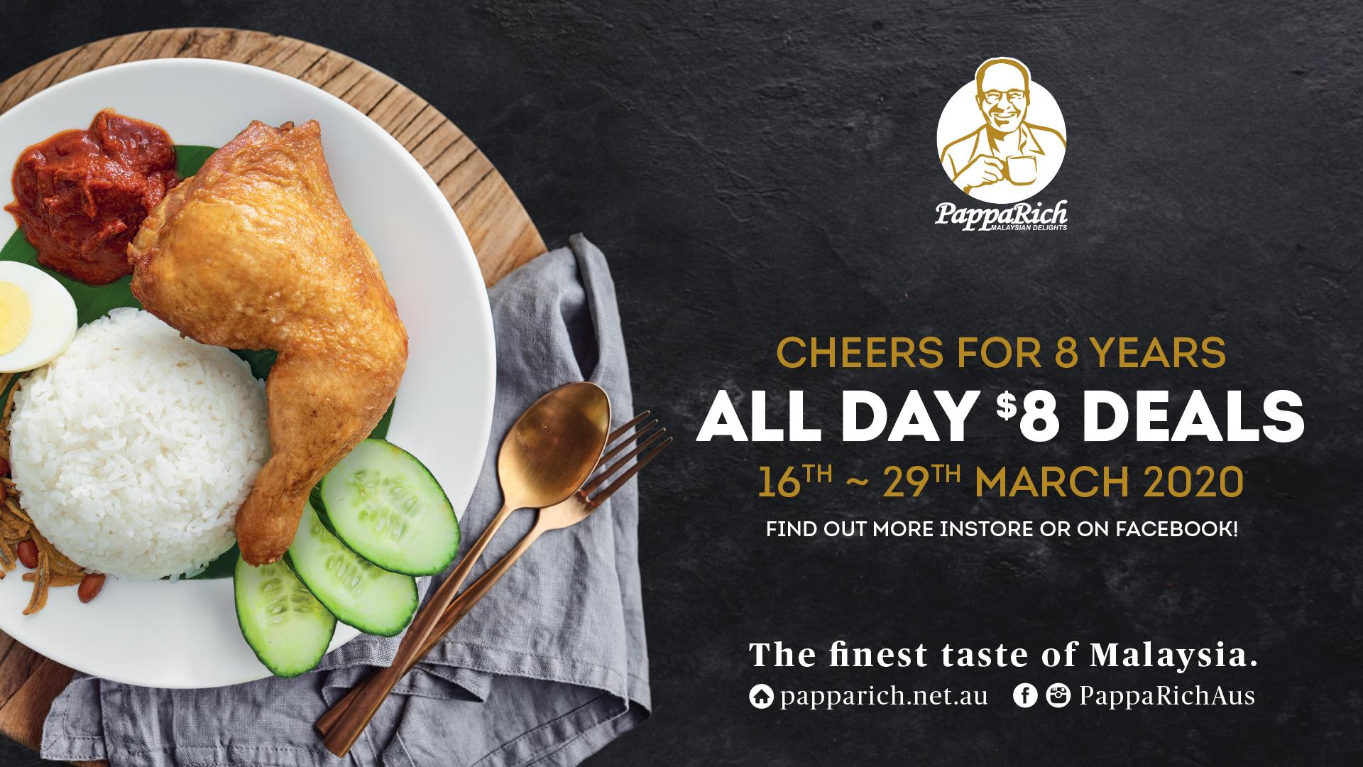 $8 Deals for PappaRich 8th Anniversary! - Gold Coast