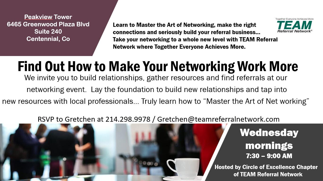 Online Networking ~ Circle of Excellence in Greenwood Village ~ TEAM Referral Network