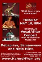 TUESDAY MAY 18, 8PM, Phenomenal Hindustani Vocal/Sitar...
