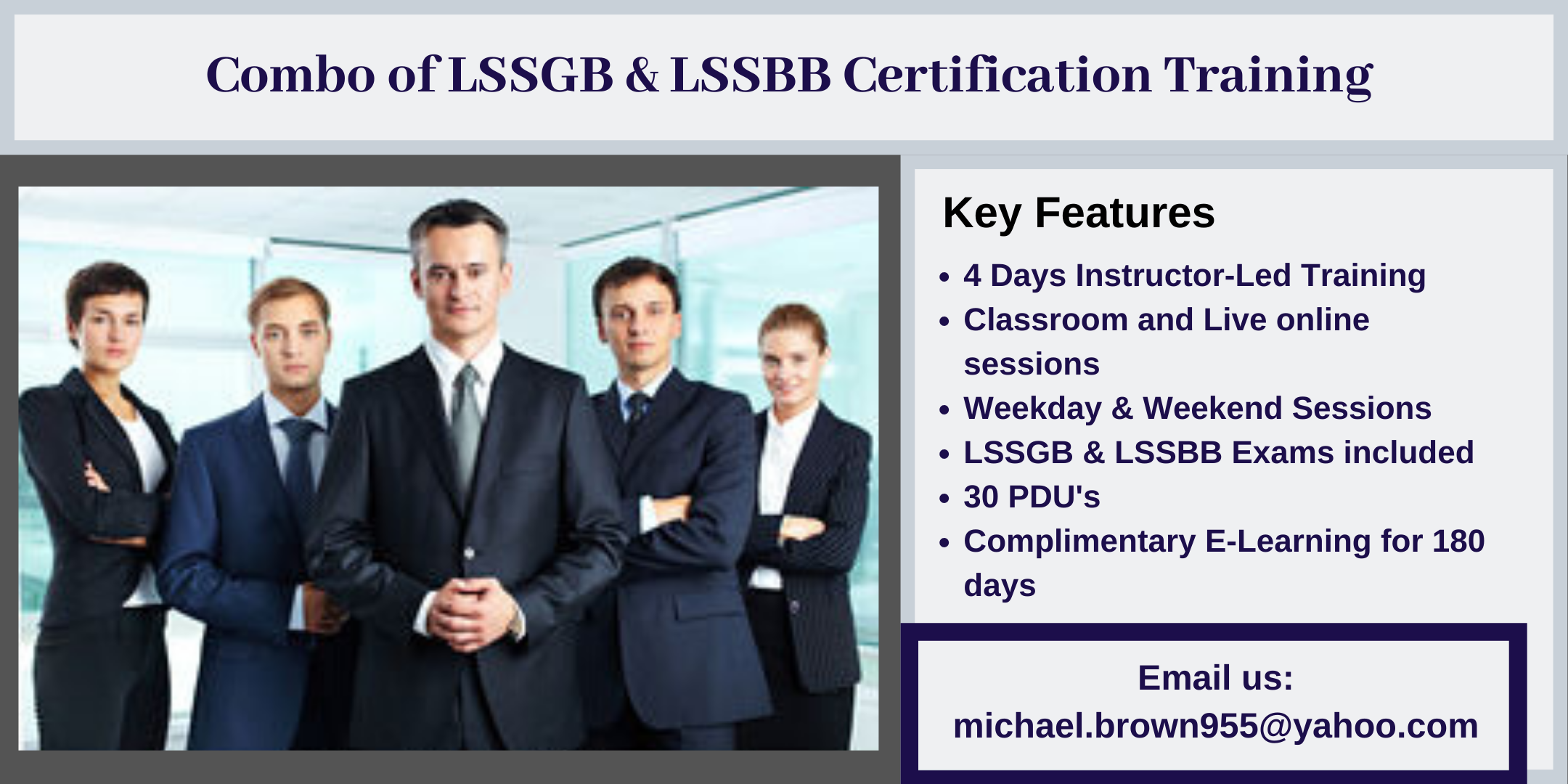 Combo of LSSGB & LSSBB 4 days Certification Training in Llano, CA