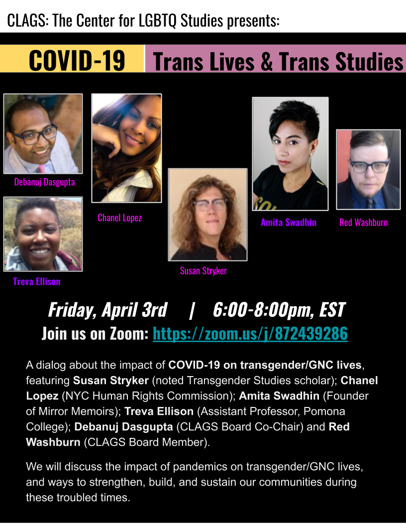 UPDATE: Covid-19 and Transgender Lives Studies Virtual Panel