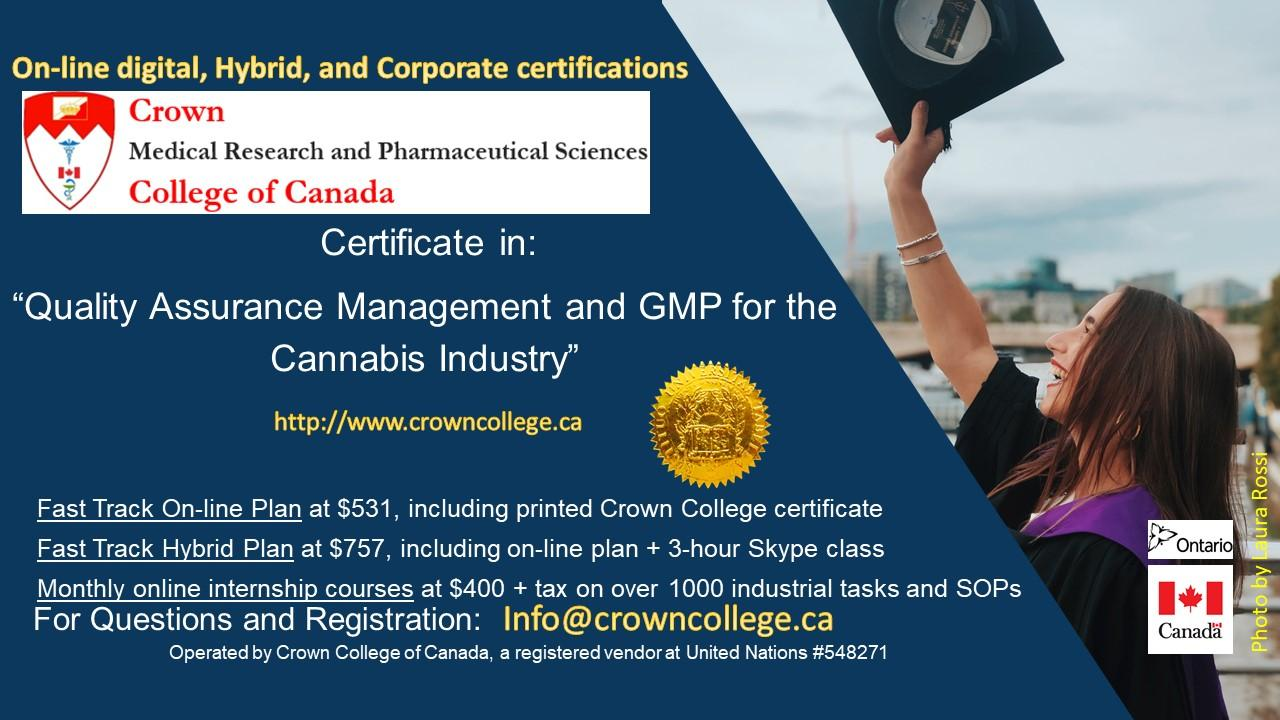 On-line Certification in Quality Assurance Management and GMP for the Cannabis Industry - Start today!