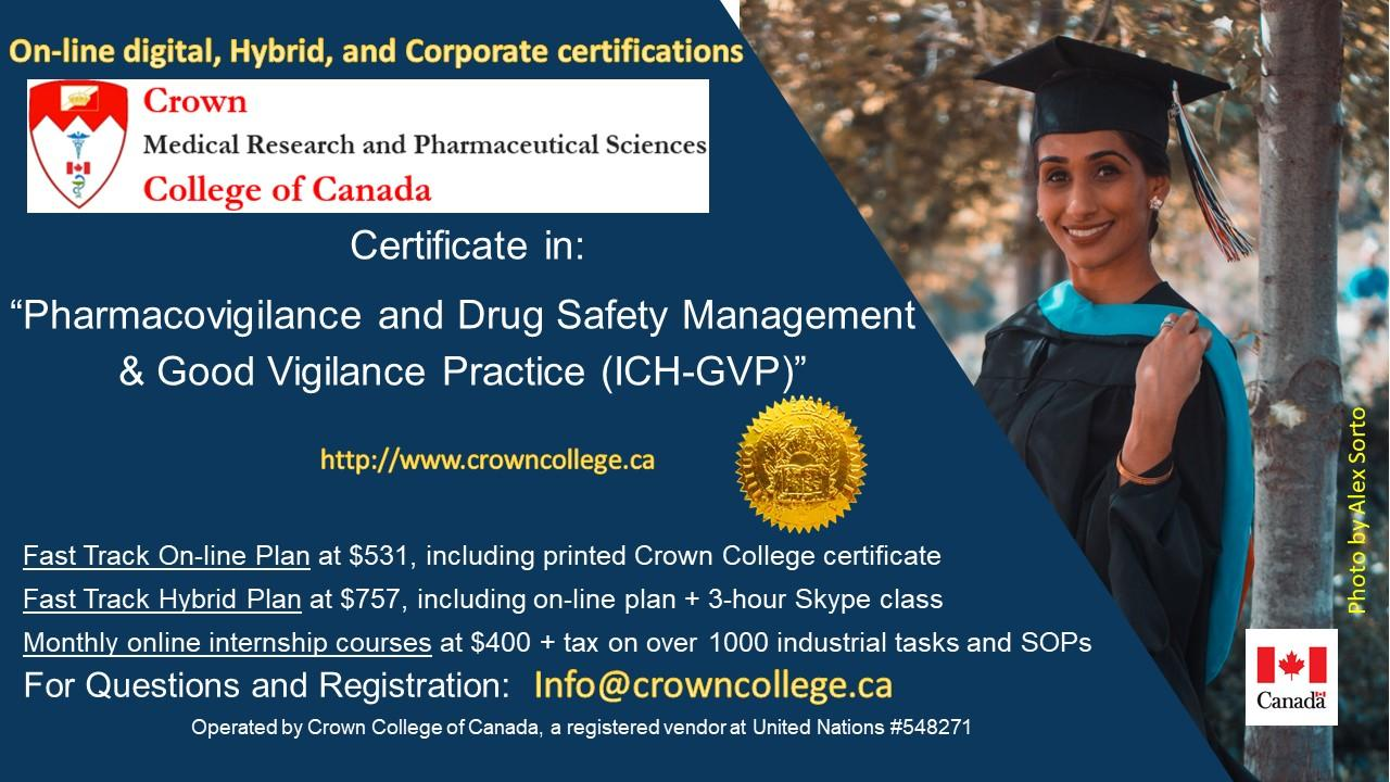 On-line Certification in Pharmacovigilance and Drug Safety Management & Good Vigilance Practice (ICH-GVP) - Start today!